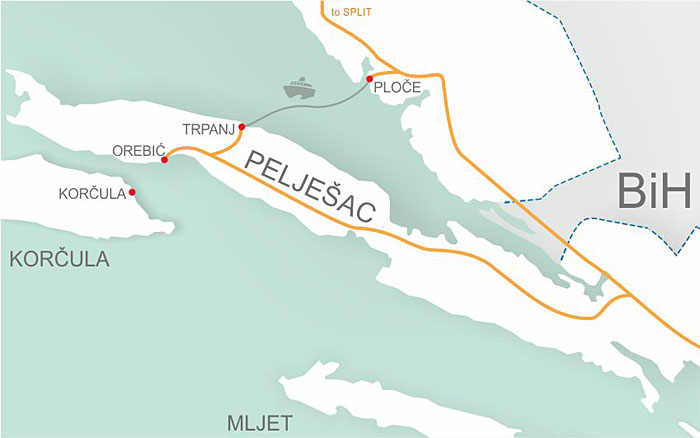 Ploče to Trpanj ferry route map