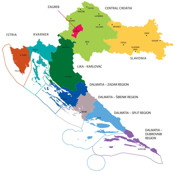 croatia-tourist-regions, image copyright Croatian National Tourist Board